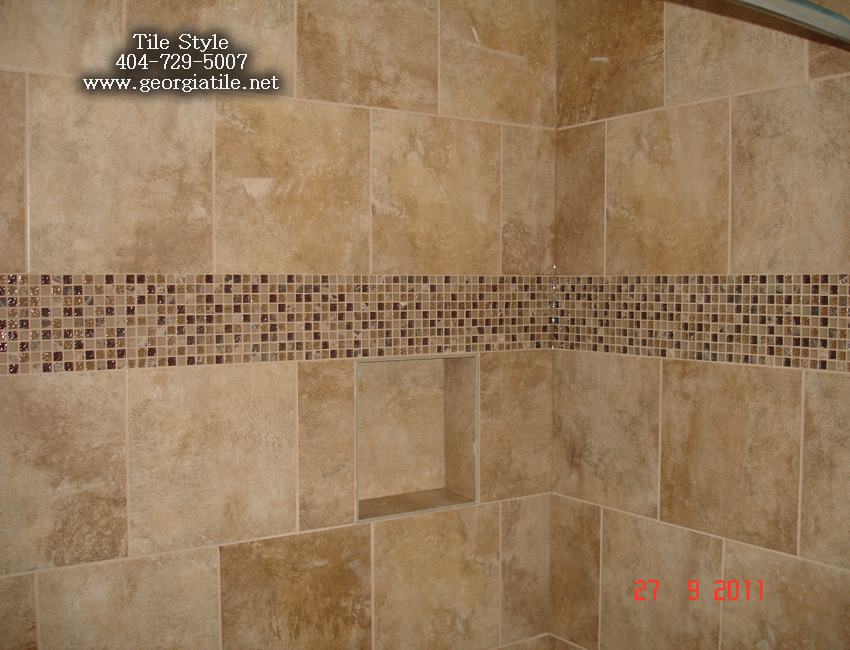 Tile style travertine tub shower remodel alpharetta ga for Glass tile border bathroom ideas
