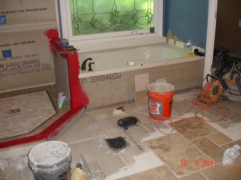 Shower tile floor installation