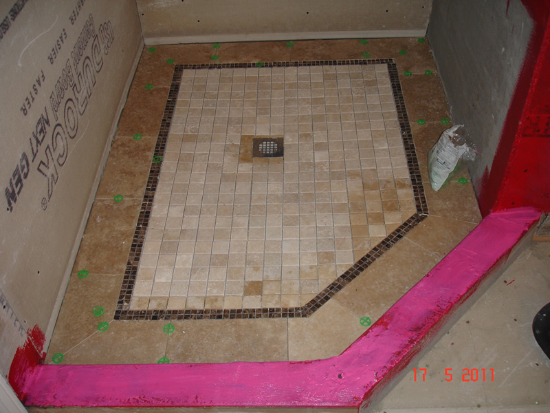 Shower floor tile installation